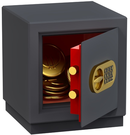 numeric: small safe with gold coins as a symbol of microcredit in banks and riskfree bank money storage