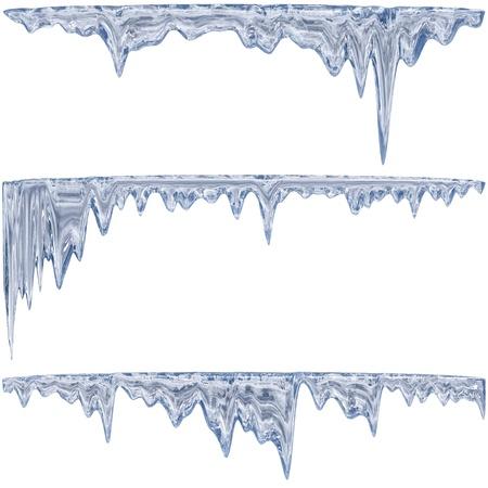 Auftauen Eiszapfen eine blaue Schatten mit Wassertropfen