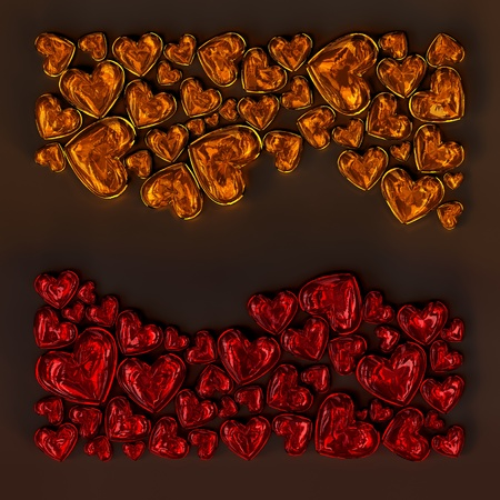 red and orange glass hearts in the shape of wave on dark background photo