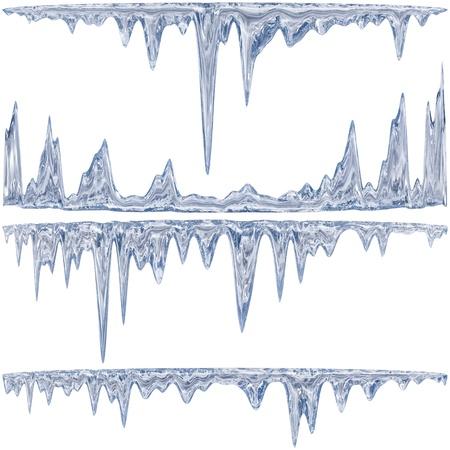 Ontdooien ijspegels van een blauwe schaduw met waterdruppeltjes Stockfoto