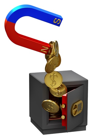 lockbox: Magnet extracting gold coins as a symbol of funds confiscation from the troubled banks accounts