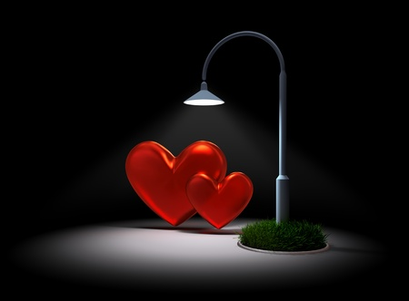 Two red hearts met together for a romantic night under a street lamp as a symbol of the meeting of two lovers