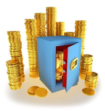 small safe for money with gold euro coins as a symbol of microcredit in banks and riskfree bank money storage