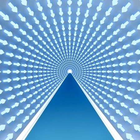 tunnel with luminous arrows blue color specifying a way forward to an ultimate goal, to success Stock Photo - 10388088