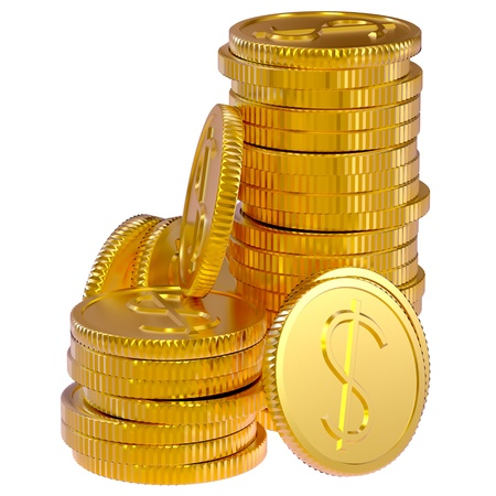 gold dollars coins as a symbol of microcredit in banks photo