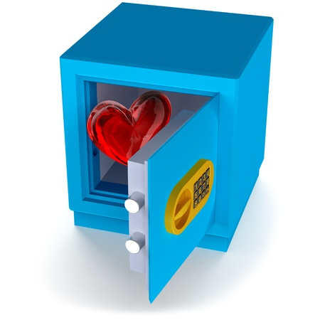 small safe with red heart as a symbol of love and protection