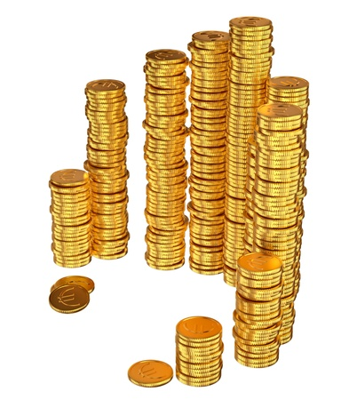 prosperous: gold euro coins as a symbol of microcredit in banks Stock Photo