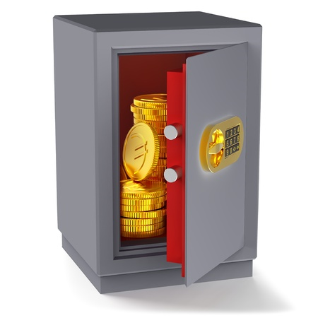 lockbox: small safe for money with gold euro coins as a symbol of microcredit in banks and riskfree bank money storage