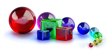 red, blue and green glass cubes and colorful marble balls Stock Photo - 11274221