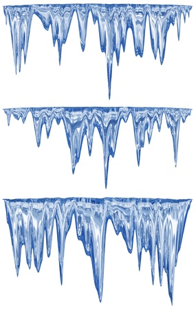 icily: collection of three blue shade melting icicles