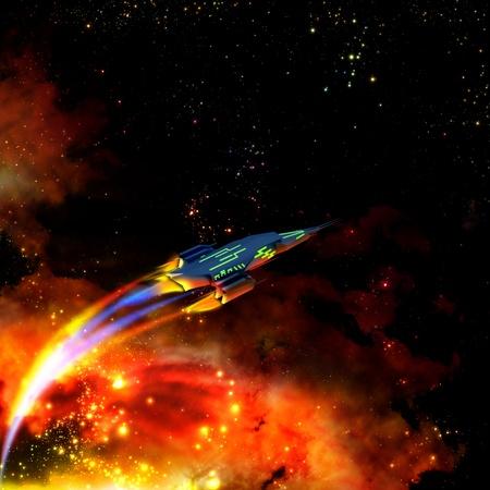 La nave espacial al rojo vivo es la aceleración de su movimiento y mantenerse lejos de una nebulosa peligrosos Foto de archivo