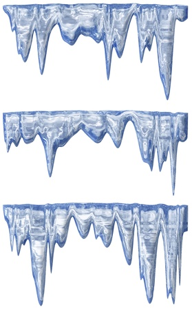 collection of three blue shade melting icicles photo