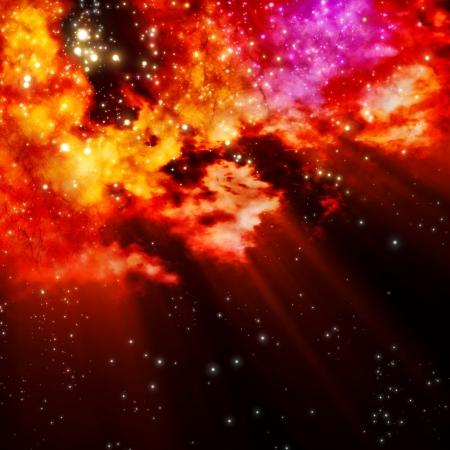오로라: 북극 오로라와 별이 구름을 통해 빛과 초신성 폭발 후 새로운 성운의 탄생처럼