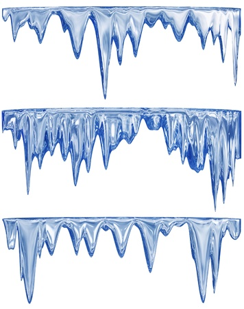 icily: collection of three blue shade thawing icicles