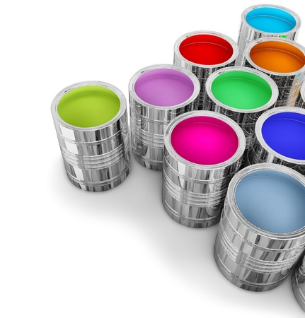 paint cans: cans with colorful paints for painting walls in new house