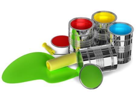 casein: latas de pintura y rodillos para pintar las paredes preparadas