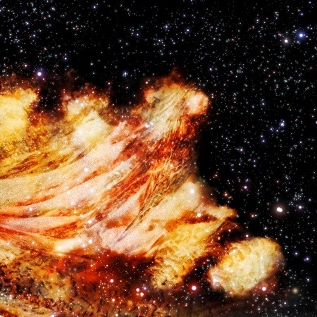 The polar Northern Lights and the stars shine through the clouds and look like a birth of a new nebula after the supernova explosion Stock Photo - 12003104