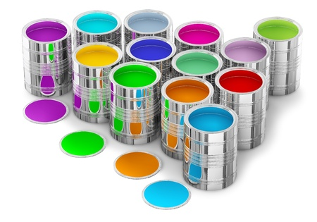 colorful paints in the cans for painting walls in new house photo