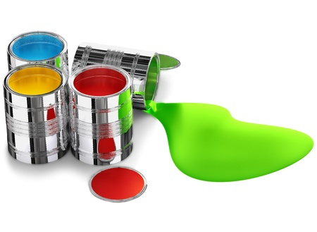 cans of paint prepared for painting walls Stock Photo - 12003102