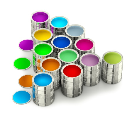 cans of paint for painting walls with green stain photo