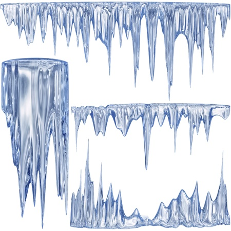 Set of 4 blue thawing icicles for christmas design photo