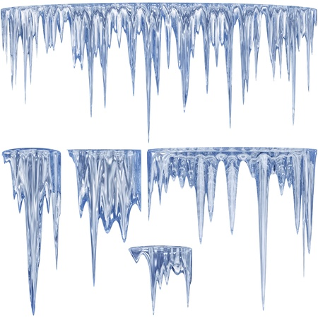 dilute: 5 blue shade thawing icicles with water droplets Stock Photo