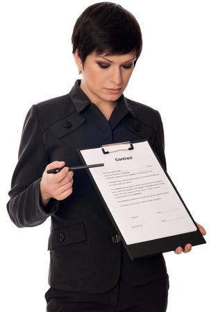 signing authority: General director showing a contract for her partner