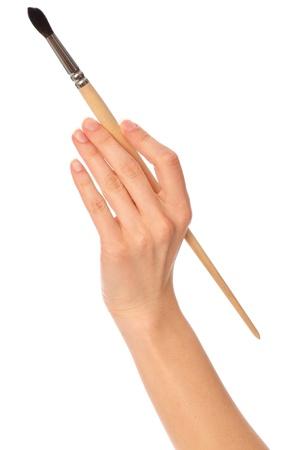 pinsel: Frau Zeichnung ein Bild mit einem Pinsel