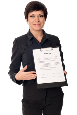 General director showing a contract for her partner photo