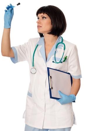 antidote: arts houdt een buis met het monster van nieuwe tegengif