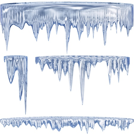 icily: Set of 4 blue thawing icicles for christmas design Stock Photo