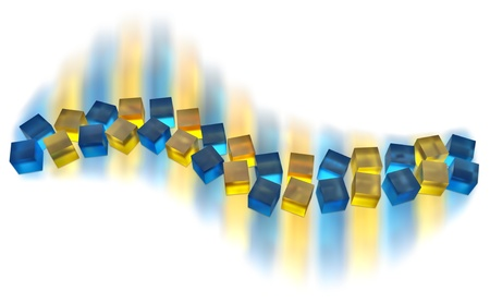 ray tracing: abstract blue and yellow cubes moving as a wave