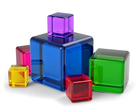 ray tracing: colored glass cubes for playing and development