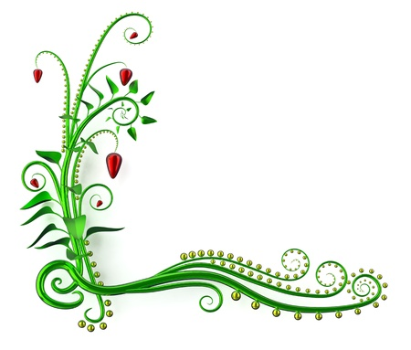 beautiful frame from green abstract leaves for design a greeting post card photo
