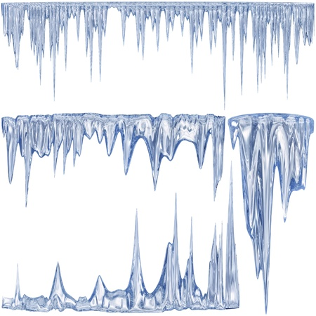 frigid: 4 blue color thawing icicles as a symbol of cold winter