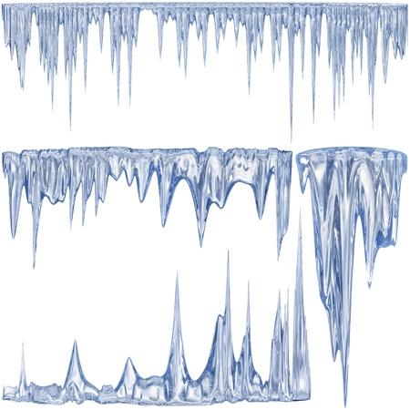 4 blaue Farbe Auftauen Eiszapfen als Symbol des kalten Winters
