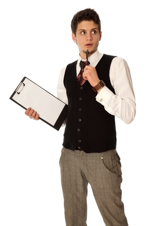 fiber tipped: The manager with white blank paper think about new innovative idea