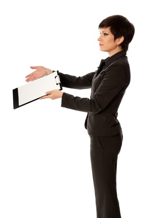 The manager with white blank paper in the hands making a presentation Stock Photo - 13743849