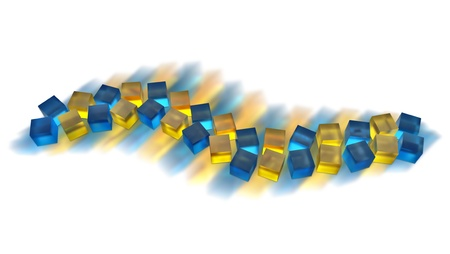 abstract blue and yellow cubes moving as a wave Stock Photo - 13762483