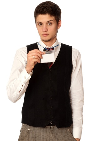 man showing his badge at the entrance of meeting room of a conference photo