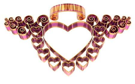 beautiful twisted frame with hearts and curls made of golden and lilac metal, as a symbol of love for design a greeting post card Stock Photo - 13850183
