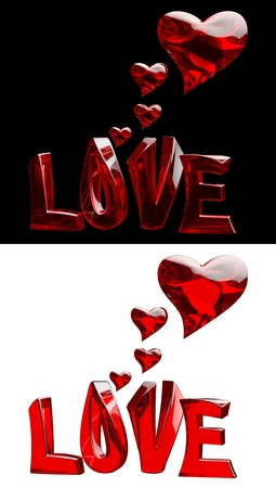 a set of 3D word LOVE with hearts on a black and white backgrounds photo