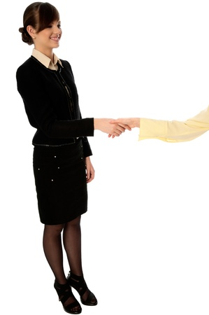 businesswoman giving her business card to the partners photo