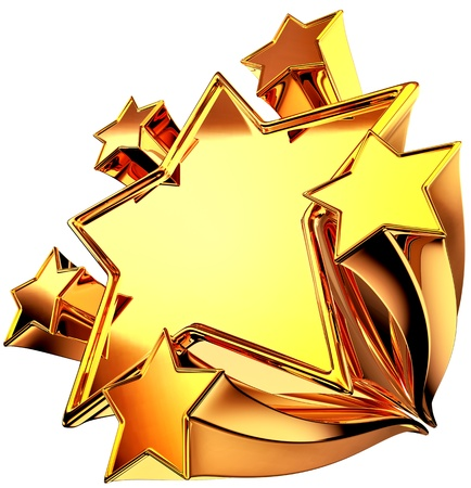 a set of six shiny gold stars in motion for advertise Stock Photo - 14176642