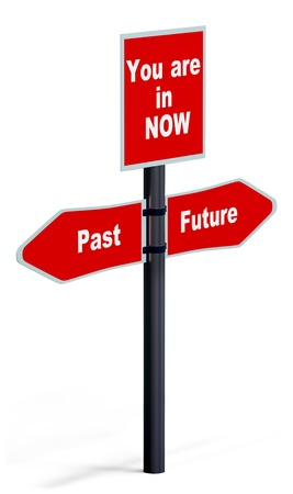 changing course: signpost with direction arrow of the past, present and future