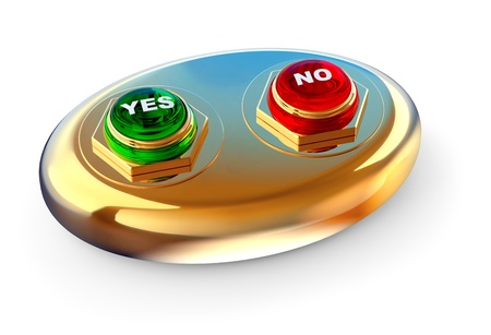making your choice by dint of golden control ballot panel with two buttons YES and NO for electronic voting Stock Photo - 14176641