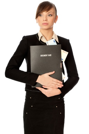 categorize: Business woman holding the document case with money in the hands as a symbol of wealth Stock Photo