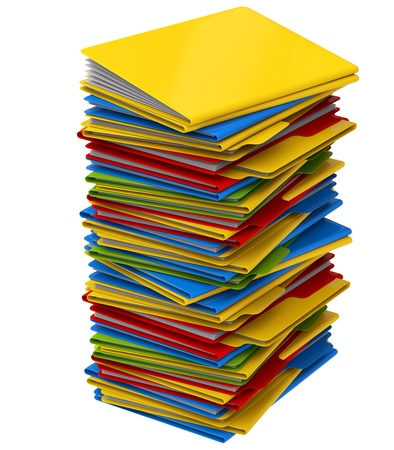 a pile of multi-colored folders with important information photo