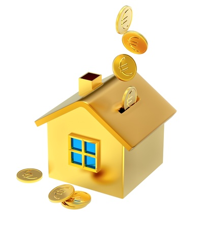 falling down euro coins into a piggy bank in the form of a gilded house as a symbol of the accumulation photo