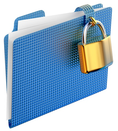 classified: the blue folder with golden hinged lock stores important documents Stock Photo